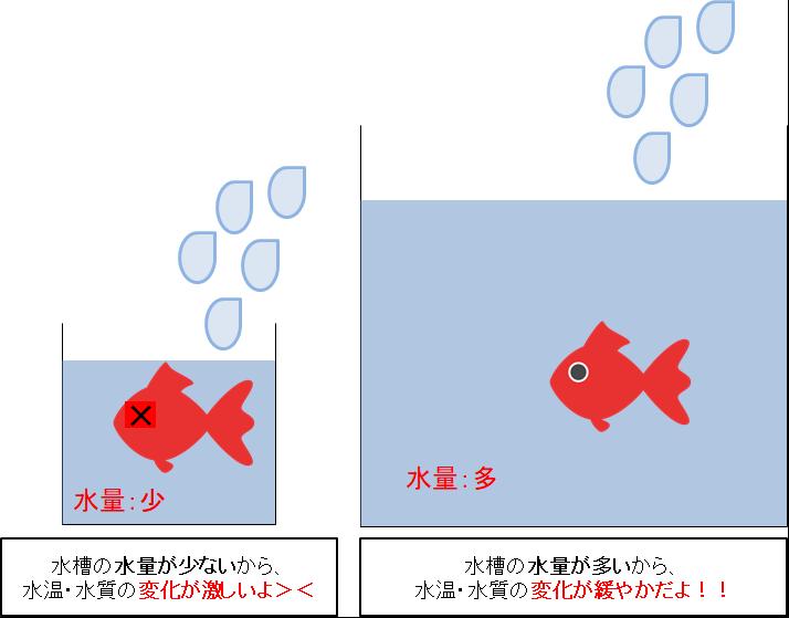 水槽の水替えは、水量が多いほど変化が緩やか。(水量が少ないと変化が激しい)